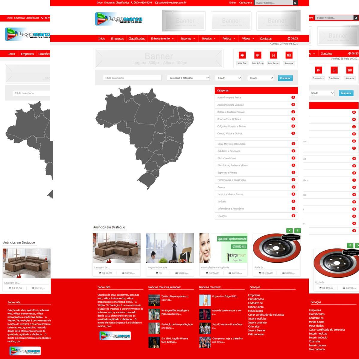 Criador de Sites - Classificados - Assinatura de Notícias